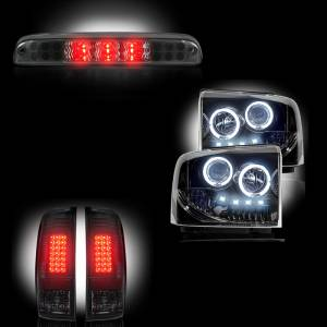 RECON - Ford Superduty F-250 to F-550 2005-07 Recon Smoked Headlights & Tail Lights & Third Brake Light Lighting Package