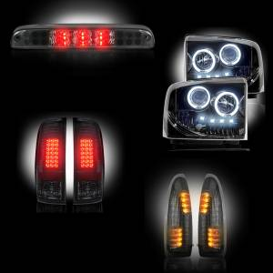 RECON - Ford Superduty F-250 to F-550 2005-07 Recon Smoked Headlights & Tail Lights & Third Brake Light & Side Mirror Lights Lighting Package