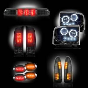 RECON - Ford Superduty F-250 to F-550 2005-07 Recon Smoked Headlights & Tail Lights & Third Brake Light & Side Mirror Lights & Dually Fender Lights Lighting Package