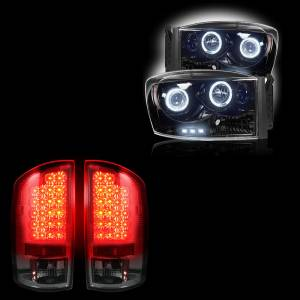 RECON - Dodge Ram 1500 2007-08 + 2500/3500 2007-09 Recon Smoked Headlights & Tail Lights Lighting Package