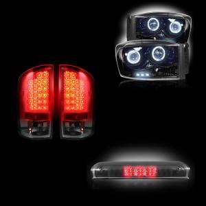 RECON - Dodge Ram 1500 2007-08 + 2500/3500 2007-09 Recon Smoked Headlights & Tail Lights & Third Brake Light Lighting Package
