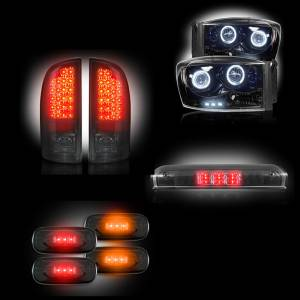 RECON - 2006 Dodge Ram  Dually Recon Smoked Headlights & Tail Lights & Third Brake Light & Dually Fender Lights Lighting Package