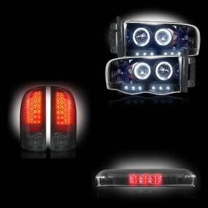 RECON - Dodge Ram 1500/2500/3500 2002-05 Recon Smoked Headlights & Tail Lights & Third Brake Light Lighting Package