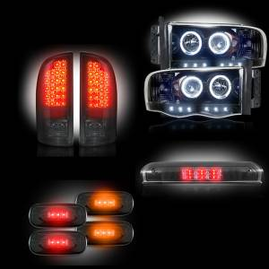 Recon - 2003-2005 Dodge Ram 3500 Dually Recon Smoked Headlights & Tail Lights & Third Brake Light & Dually Fender Lights Lighting Package