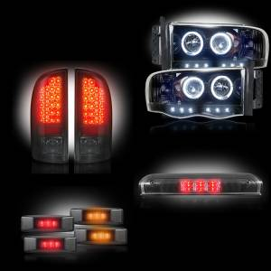 RECON - Dodge Ram Dually 2003-2006 Recon Smoked Headlights & Tail Lights & Third Brake Light & Dually Fender Lights Lighting Package