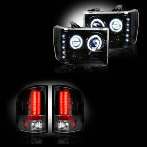 RECON - GMC Sierra 2007-14 Recon Smoked Headlights & Tail Lights Lighting Package (Single Wheel)