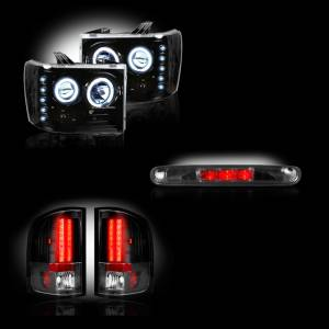 RECON - GMC Sierra 2007-14 Recon Smoked Headlights & Tail Lights & Third Brake Light Lighting Package (Single Wheel)
