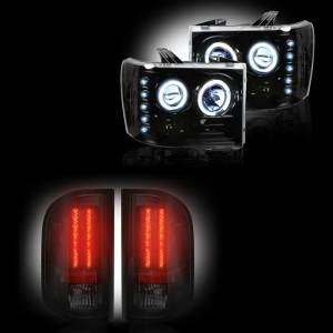 RECON - GMC Sierra 2007-14 Recon Smoked Headlights & Tail Lights Lighting Package (Dually)
