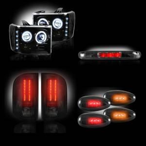RECON - GMC Sierra 3500 2007-14 Dually Recon Smoked Headlights & Tail Lights & Third Brake Light & Dually Fender Lights Lighting Package (Dually)