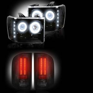 RECON - GMC Sierra 2007-14 Recon Smoked Headlights w/ CCFL Halos & Tail Lights Lighting Package (Dually)