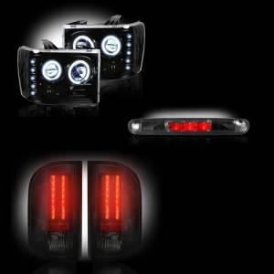 RECON - GMC Sierra 2007-14 Recon Smoked Headlights w/ CCFL Halos & Tail Lights & Third Brake Light Lighting Package (Dually)