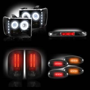 RECON - GMC Sierra 2007-14 Recon Smoked Headlights w/ CCFL Halos & Tail Lights & Third Brake Light & Dually Fender Lights Lighting Package (Dually)