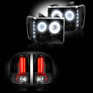 RECON - GMC Sierra 2007-14 Recon Smoked Headlights w/ CCFL Halos & Tail Lights Lighting Package (Single Wheel)