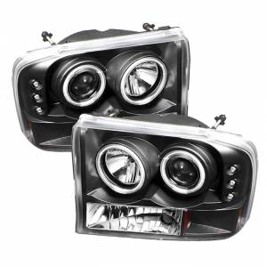 Spyder Black CCFL Halo Projector LED Headlights | 99-04 Ford F250 & 00-04 Ford Excursion | Dale's Super Store