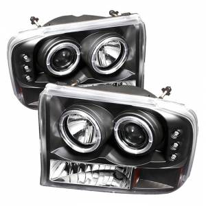 Spyder Black Halo Projector LED Headlights | 99-04 Ford F250 & 00-04 Ford Excursion | Dale's Super Store