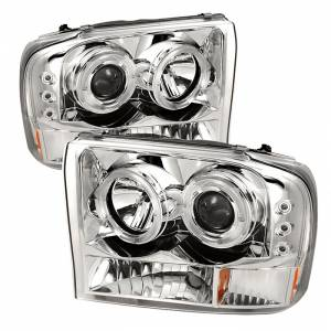 Spyder Chrome Halo Projector LED Headlights | 99-04 Ford F250 & 00-04 Ford Excursion | Dale's Super Store