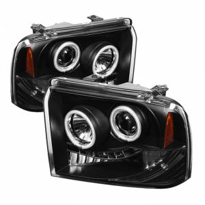Spyder Black CCFL Halo Projector LED Headlights | 2005-2007 Ford Super Duty