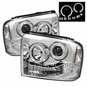 Spyder Chrome Halo Projector LED Headlights | 2005-2007 Ford Super Duty | Dale's Super Store