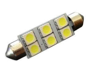 Outlaw Lights - 2x3 WHITE 6-SMD 44MM Dome Festoon LED Interior Bulb - Outlaw Lights