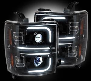 RECON - Recon 264275BKC | Smoked Projector Headlights w/ OLED Halos & DRL - Chevrolet Silverado 1500 14-15