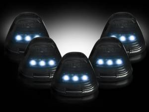 Recon - RECON 264143WHBK LED Cab Roof Lights SMOKED w/ WHITE LEDs Ford Superduty 99-16