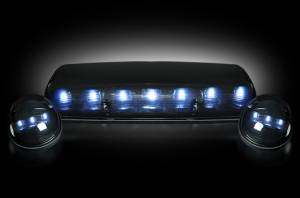Recon - RECON 264155WHBK LED Cab Roof Lights SMOKED / WHITE LEDs Sierra/Silverado 02-07