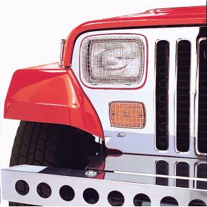 Rugged Ridge - Rugged Ridge Stone Guard Set Stainless Steel 1987-1995 Jeep YJ Wrangler