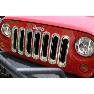Rugged Ridge - Rugged Ridge Grille Inserts Chrome 2007-2012 Jeep JK Wrangler