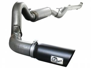 """aFe Power Large Bore-HD 5"""" Stainless Downpipe Back w/Muffler & Black Tip 