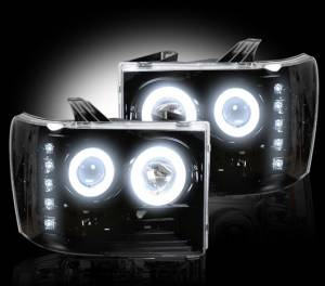 RECON - RECON 264271BKCC | SMOKED Projector Headlights w/ CCFL Halos For GMC Sierra 2007-2013