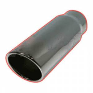 "Flo~Pro 405012RAC2 | Clamp On Black Chrome Exhaust Tip - 15 Degree Rolled Angle - 4"" Inlet, 5"" Outlet, 12"" Length"