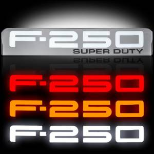 RECON F-250 Illuminated Fender Emblems Red, White, & Amber w/Chrome Housing   2008-2010 Ford F-250 SUPERDUTY   Dale's Super Store