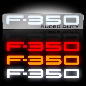 RECON F-350 Illuminated Fender Emblems Red, White, & Amber w/Chrome Housing | 2008-2010 Ford F-350 SUPERDUTY | Dale's Super Store