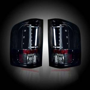 RECON SMOKED LED Tail Lights | 2007-2013 Chevy Silverado 1500 & GMC Sierra Dually | 264291BK | Dale's Super Store