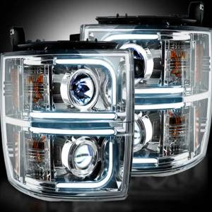 Recon Clear Chrome Projector Headlights w/Ultra High Power OLED HALOS & DRL | 264275CLC | 2014-2016 Chevy Silverado 1500 | Dale's Super Store