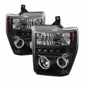 Spyder Black CCFL Halo Projector LED Headlights | 2008-2010 Ford Super Duty | Dale's Super Store