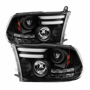 Spyder Black DRL Bar Projector LED Headlights | 2009-2016 Dodge Ram | Dale's Super Store