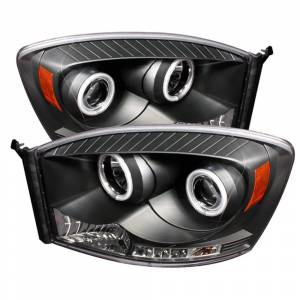 Spyder Black CCFL Halo Projector LED Headlights | 2006-2009 Dodge Ram | Dale's Super Store