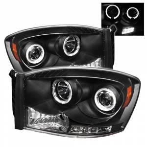 Spyder Black Halo Projector LED Headlights | 2006-2009 Dodge Ram | Dale's Super Store