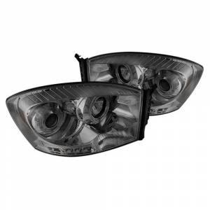 Spyder Chrome/Smoke Halo Projector LED Headlights | 2006-2009 Dodge Ram | Dale's Super Store