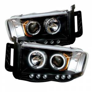 Spyder Black CCFL Halo Projector LED Headlights | 2002-2005 Dodge Ram | Dale's Super Store
