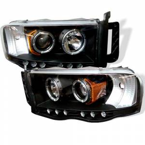 Spyder Black Halo Projector LED Headlights | 2002-2005 Dodge Ram | Dale's Super Store