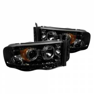 Spyder Chrome/Smoke Halo Projector LED Headlights | 2002-2005 Dodge Ram | Dale's Super Store