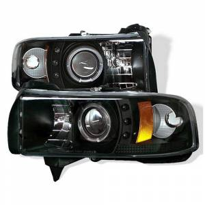 Spyder Black CCFL Halo Projector LED Headlights | 1994-2002 Dodge Ram | Dale's Super Store