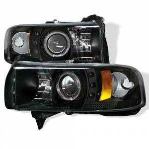 Spyder Black Halo Projector LED Headlights | 1994-2002 Dodge Ram | Dale's Super Store