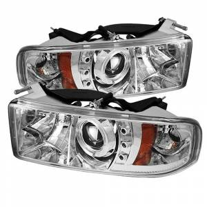 Spyder Chrome Halo Projector LED Headlights | 1994-2002 Dodge Ram | Dale's Super Store