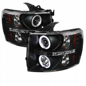 Spyder Black CCFL Halo Projector LED Headlights | 2007-2014 Chevy Silverado | Dale's Super Store