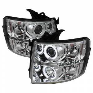 Spyder Chrome CCFL Halo Projector LED Headlights | 2007-2014 Chevy Silverado | Dale's Super Store