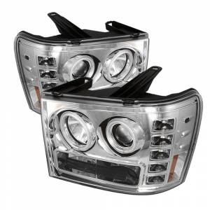 Spyder Chrome CCFL Halo Projector LED Headlights | 2007-2014 GMC Sierra | Dale's Super Store