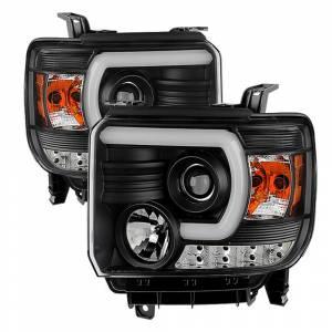 Spyder Black U-Bar Projector LED Headlights | 2014-2015 GMC Sierra w/factory LED DRL | Dale's Super Store